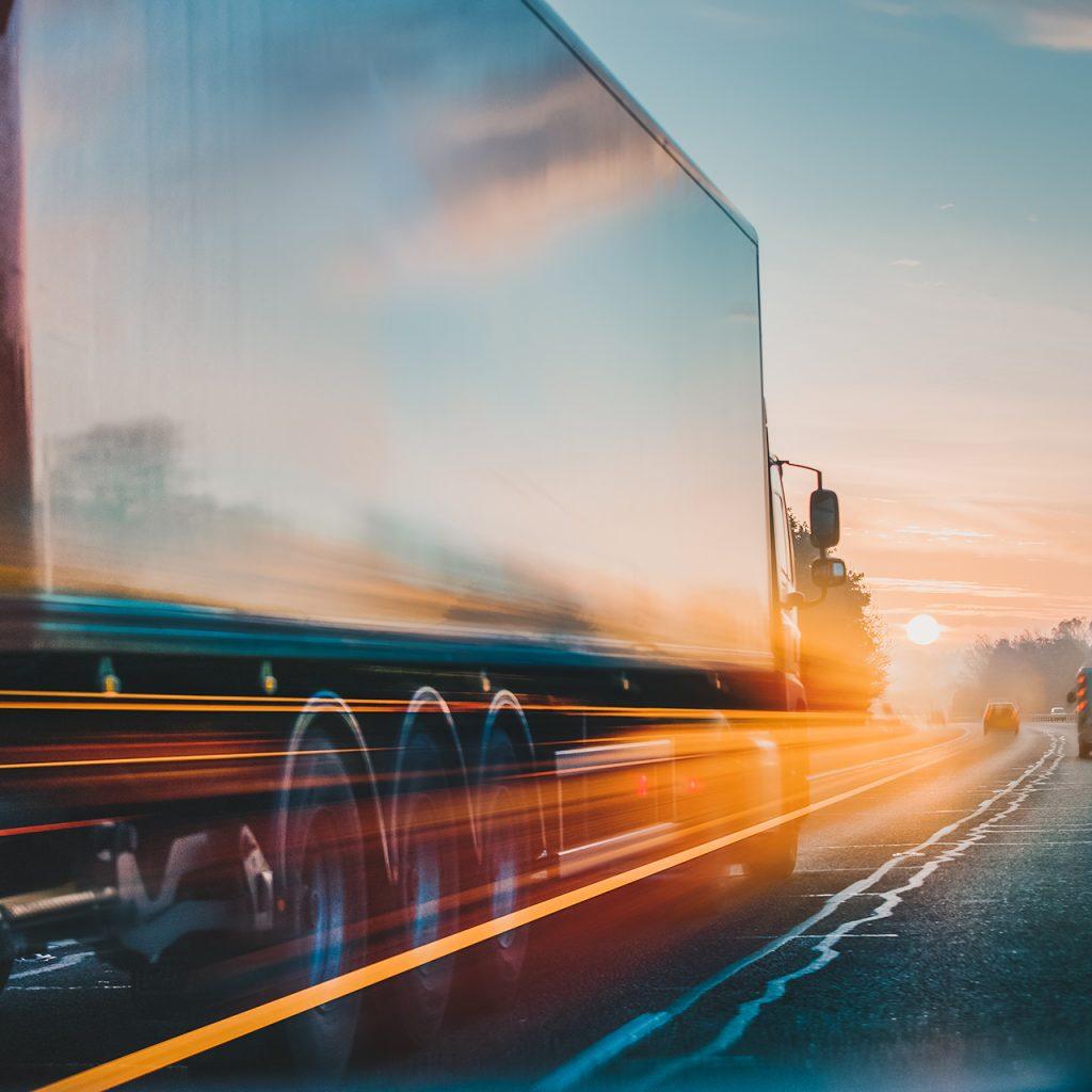 Red Lorry on M1 motorway in motion near London